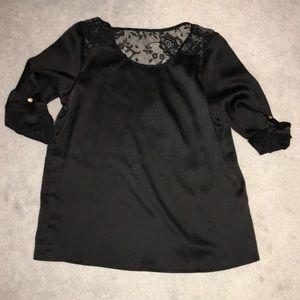 F21 Black Satin Top with lace Yoke